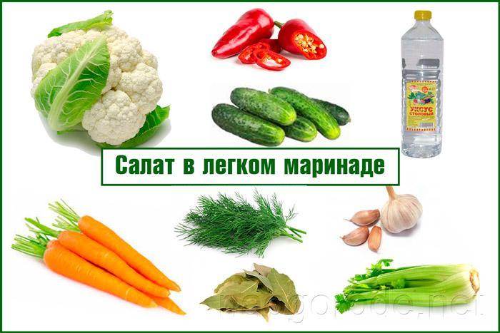 Состав салат в легком маринад
